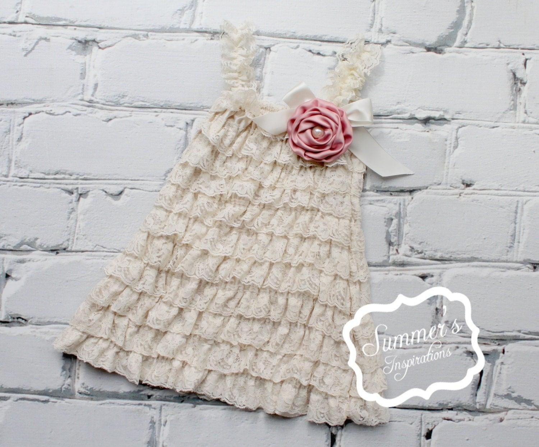Cream Petti Dress Baby Dress Flower Girl Dress Lace