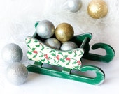 SALE 30% off - Rustic Wooden Sleigh, Green and Silver Handpainted Wood Sledge Christmas ornament SANTA SLED, red misletoe