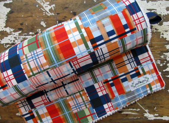 Baby Blanket Chenille or Minky -  Nautical Patchwork Plaid - Baby Boy - Michael Miller Going Coastal