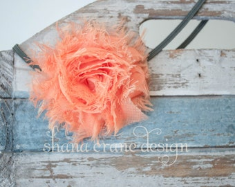 Alicia . Headband . Shabby Chiffon Flower . Tangerine