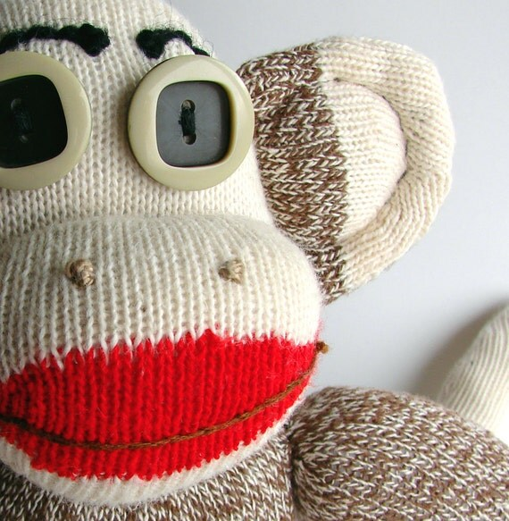 Mo the SOCK MONKEY Handmade a BIg Softie and bit of a Geek...One of A Kind Traditional Monkey  made with vintage Rockford Red Heel Socks