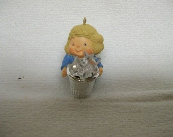 Vintage Hallmark THIMBLE Angel Ornament Circa  1984 Blue Angel 7th in Series Christmas Tree Ornament for Seamstress Thimble Collector