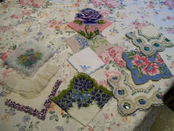 10 Vintage Floral HANDKERCHIEFS  in Violets and Blues Stunning Lot of 10 And FREE Shipping