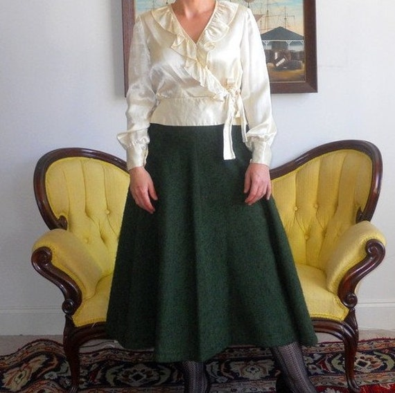 Vintage Green Wool Skirt size small