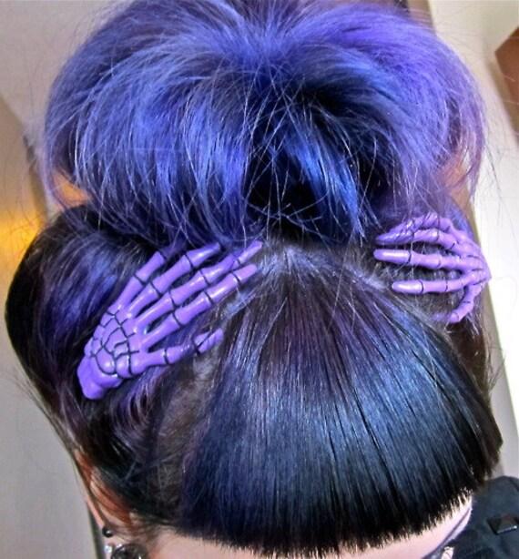 Purple Skeleton Hand Hair Clips