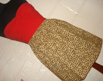 Classic Leopard Print Mini Skirt - High Waisted Ladies Animal Print Mini Skirt -  Handmade & Ready to Ship - Pin Up Rockabilly