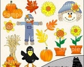 Fall Into Autumn Clipart and Graphic Set, Fall Clipart, Halloween Clipart, Autumn Clipart - Digital Scrapbooking Kit