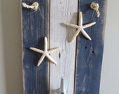 Boat Cleat Towel Hook Navy Blue and White Starfish Wall Hanging Recycled Wood nautical beach decor Shabby Chic Beach Cottage Coat Towel Rack