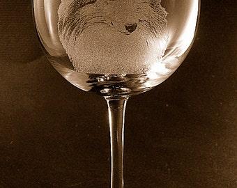 Etched Shetland Sheepdog / Sheltie on Elegant Wine Glass (set of 2)