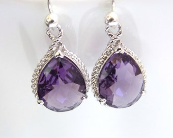 Purple Earrings, Glass Earrings, Silver, Drop, Dangle, Amethyst, Bridesmaid Jewelry, Wedding Jewelry, Bridesmaid Earrings, Bridesmaid Gift