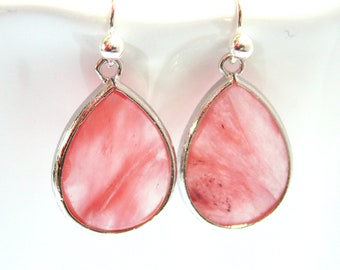 Pink Earrings, Glass Earrings, Peach, Coral, Silver, Grapefruit, Blush, Bridesmaid Earrings, Bridal Jewelry, Bridesmaid Gifts