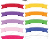 Ribbon Banner with stitched border - Scrapbooking Embelishments Bright Colors - Instant Download