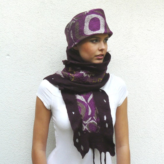 Nuno felted hat and scarf set - wool and silk - brombeer , pourple