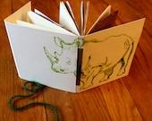 The Green Rhino Monotype Print Journal with Handmade Paper