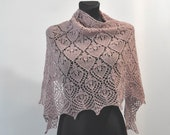 Water Lily in antique pink - pale pink baby alpaca hand knitted lace shawl, stole, scarf
