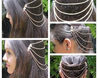 Gold Tone Metal Hair Clip Combs Link Chain Handmade Hair Jewelry Swarovski Beads