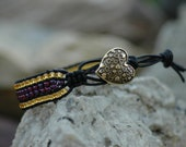 Leather Cuff Bracelet - Purple/Gold Seed Beads