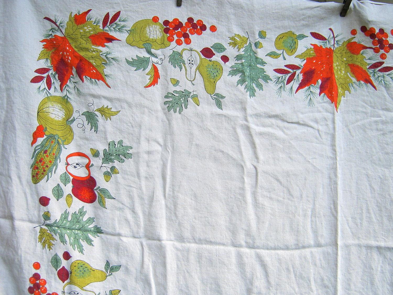 Vintage Linen Tablecloth Autumn Leaves Border Gorgeous Fall