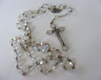 Beautiful Vintage Crystal Italian Aroura Borealis Rosary