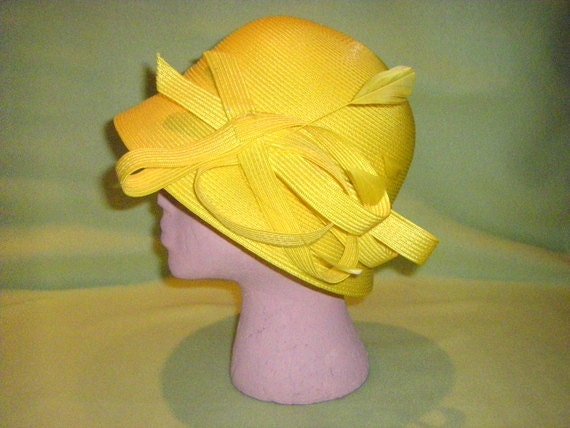 Vintage Yellow Cloche Hat with Feathers by August Accessories