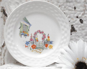 Early American Saucer Decal Scene Floral 6 Inch