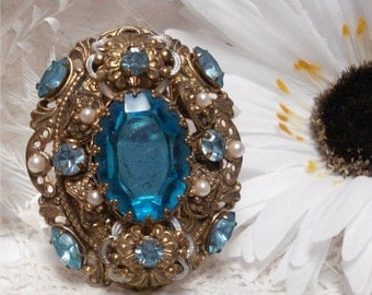 Large Turquois Rhinestone Brooch Faux Pearl
