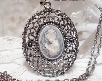 Large Cameo Pendant Blue Ornate Silver Tone Necklace