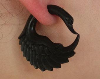JAYA Swan Earrings - Natural Black Horn - Organic Fake Gauges