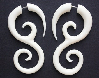 SAIPAN - Natural White Bone - Fake Gauge Earrings - Hand Carved Swirl Drop Earrings