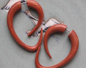 Tribal Fake Gauges - EBB Hoops - Hand Carved Tan Saba Wood - Hook Style Earrings