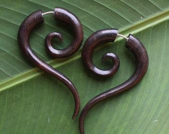 TALEEYA Fake Gauge Earrings - Hand Carved Natural Dark Brown Sono Wood - Tribal Jewelry