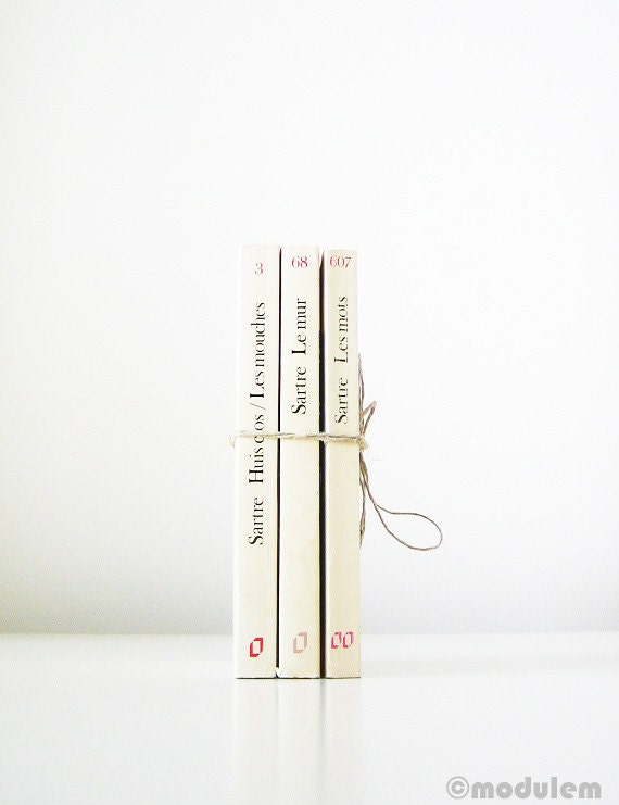 Reserved for Ale S - Jean-Paul Sartre Trio, vintage French books, existentialism, white, ivory, cream, off-white, black, interior design