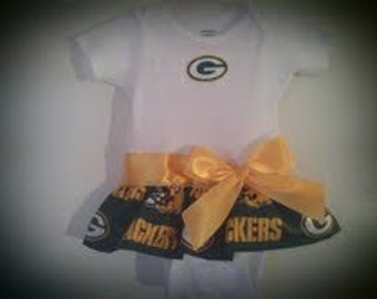 Green Bay Packers inspired baby girl outfit A