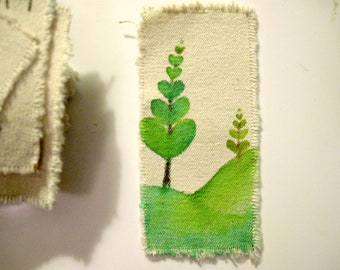 Green Heart Trees hand painted bookmark