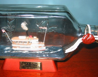"Ship in a Bottle MYSTIC SEAPORT'S  ""Sabino"" Awesome Historic Coal-Fired Wooden Steamboat"