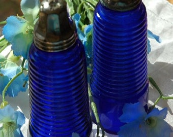 Vintage Glass Vibrant Cobalt Blue S&P Shakers Horizontal Ribbed Columns - FREE SHIPPING