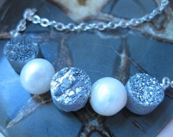 Silver Druzy Quartz Crystal and Freshwater Pearl Necklace
