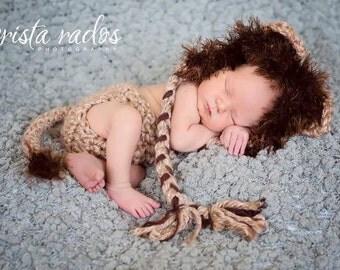 Halloween Set - Baby Girl or Boy Newborn Lion Hat and DIAPER COVER SET Photography Prop Jungle Safari - Treasured Little Creations