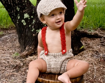 Crochet Diaper Cover, Newsboy Cap and Suspenders Set Little Man Outfit Newborn Photo Prop