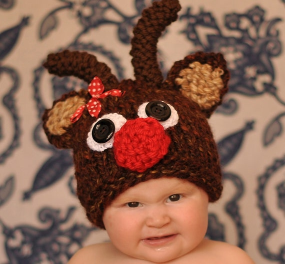 Infant Crocheted Reindeer hat