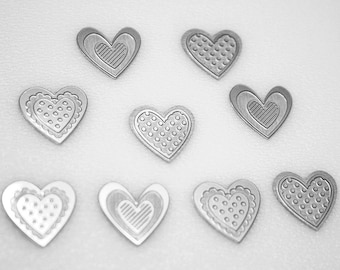 Push Pins or Magnets - Shiny Metal Hearts