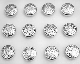 Push Pins or Magnets - Metal Silver Pattern Discs
