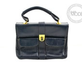 Leather Handbag Ladylike Accordion Navy