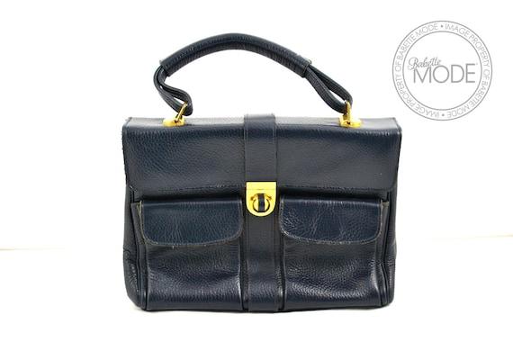 Leather Handbag Ladylike Accordion Navy