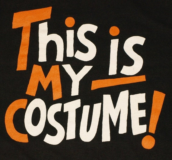 Vintage 1980'ss This Is My Costume Halloween Black Tee T-Shirt 80's