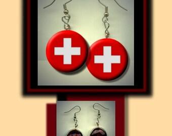SWITZERLAND SWISS World Flag Altered Art Dangle Earrings with Rhinestone