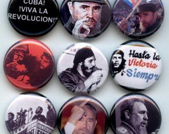 """Fidel CASTRO Cuban Cuba revolutionary 9 Pinback 1"""" Buttons Badges Pins"""