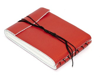 """Leather Journal or Leather Sketchbook, Gloss Red, Pocket Sized, Handbound Coptic Stitch - 2 3/4"""" x 3 3/4"""""""