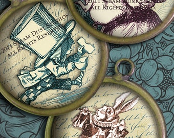 """Alice in Wonderland with Victorian Textures - 1.5"""" Circles - Lewis Carroll, Mad Hatter - Digital Collage Sheet - Instant Download and Print"""