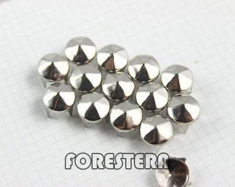 100Pcs 8mm Silver hexagon CONE Studs Metal Studs (SHC08)